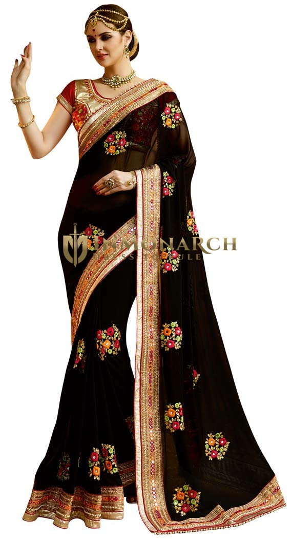Partywear Black Georgette Saree