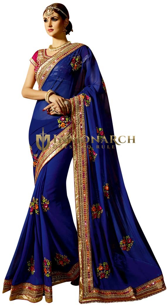 Navy Blue Georgette Partywear Saree