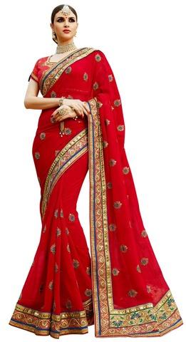Partywear Crimson Georgette Saree