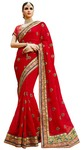 Partywear Crimson Georgette Saree