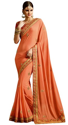 Peach Georgette Partywear Saree