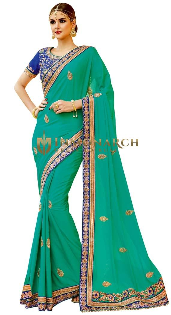 Green & Blue Georgette Bollywood Saree