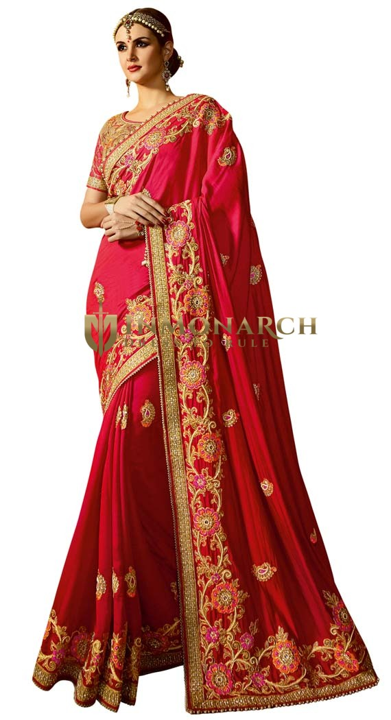Indian Designer Satin Chiffon Saree