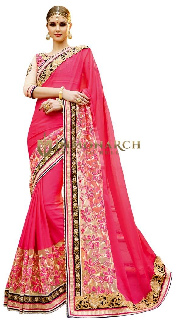 Pink Embroidered Wedding Saree