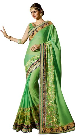 Partywear Green Georgette Saree