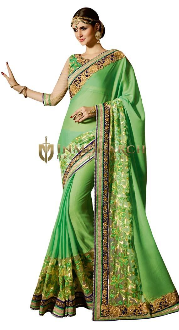 Partywear Green Georgette Saree