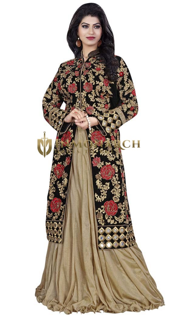 Beige & Black Art Silk Indowestern Suit