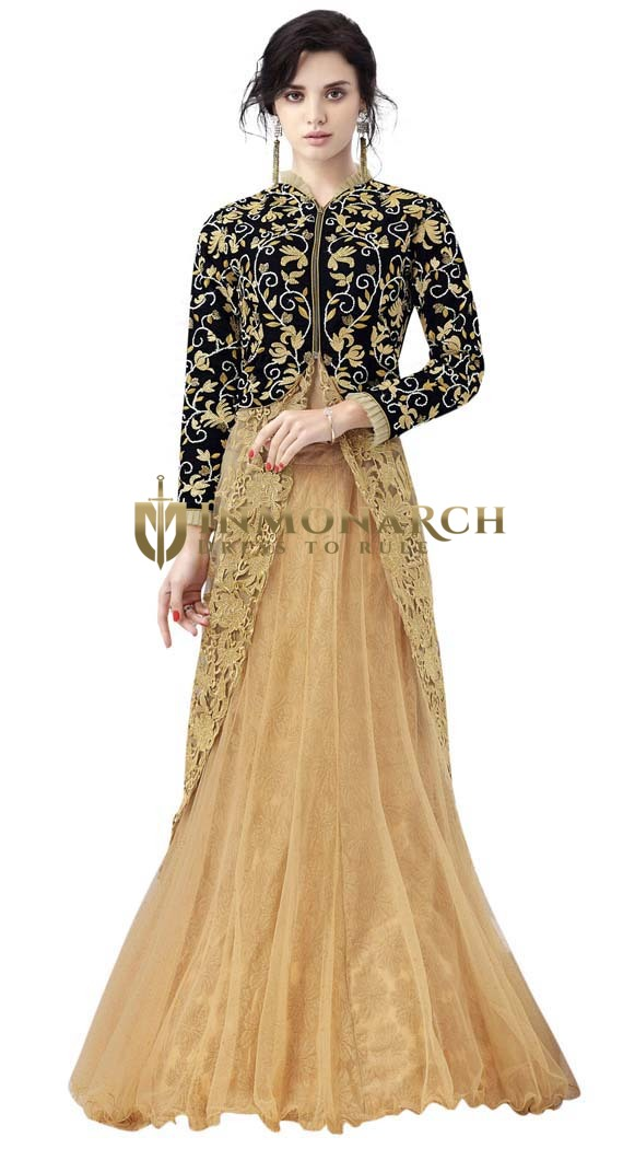 Beige & Black Net Indowestern Suit
