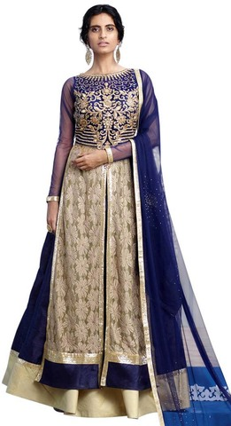 Navy Blue Raw Silk Indowestern Dress
