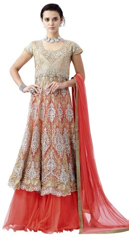 Beige & Peach Embroidered IndoWestern