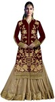Beige and Maroon Indowestern Dress