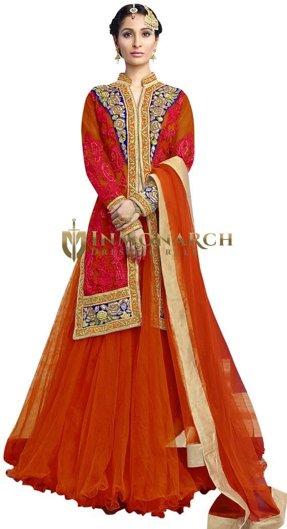 Designer Orange Net Indowestern Suit