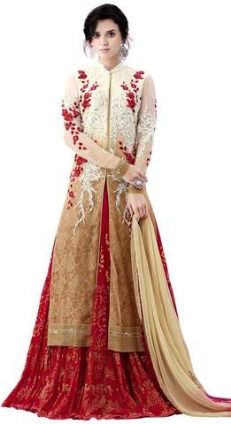 Beige & Red Chiffon Indowestern Suit