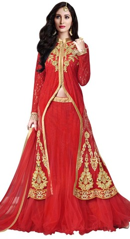 Embroidered Red Net Indowestern Suit