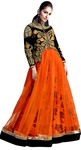 Orange Net Wedding Lehenga Choli