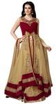 Red & Beige Net Indowestern Suit