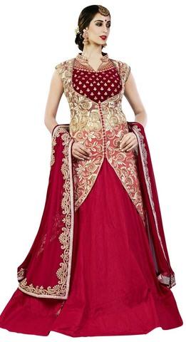 Crimson Raw Silk 4 Pc Indowestern Suit