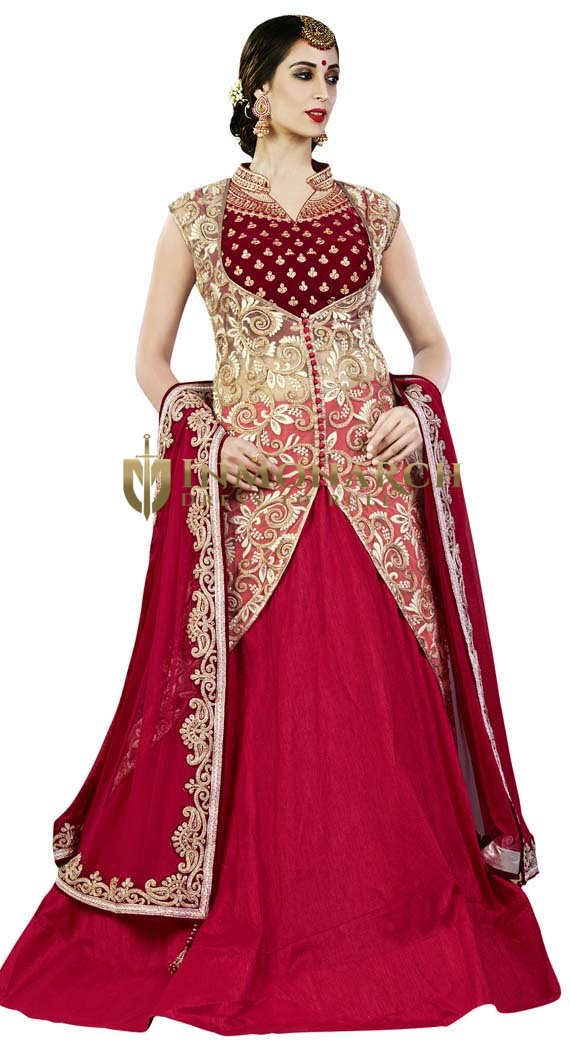 Crimson Raw Silk 4 Pc Indowestern Suit