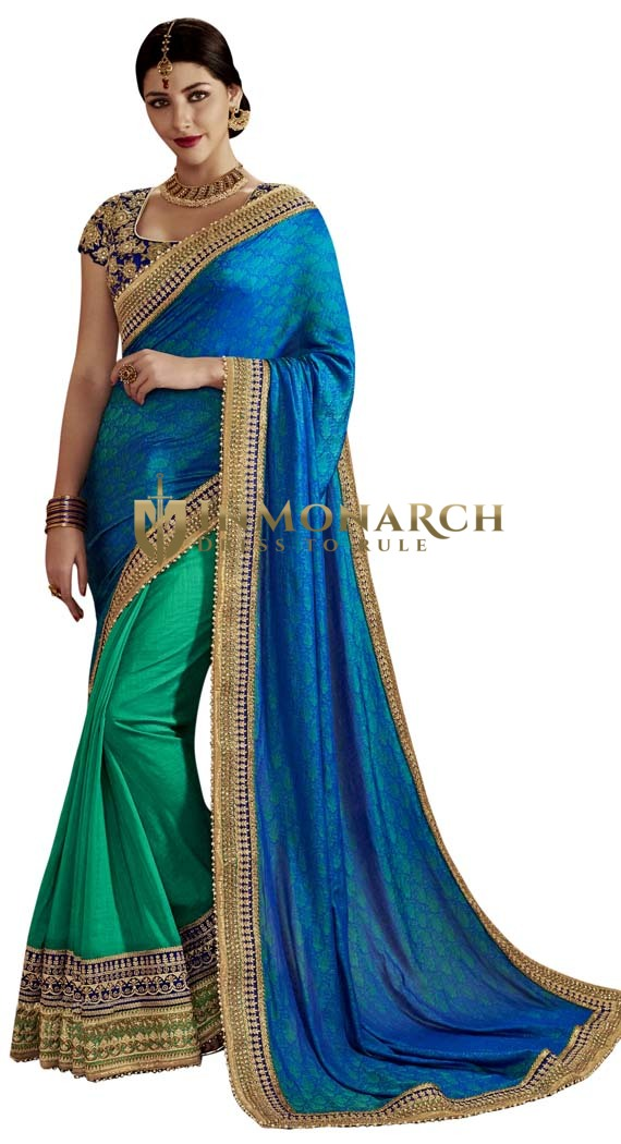 Art Silk Teal & Blue Partywear Saree