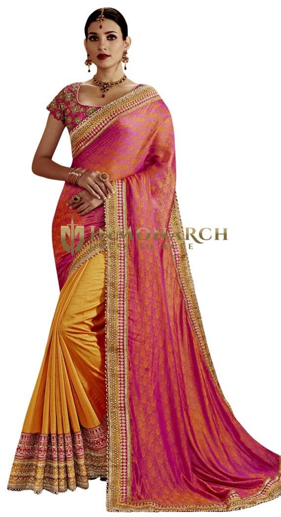 Orange Art Silk Partywear Saree