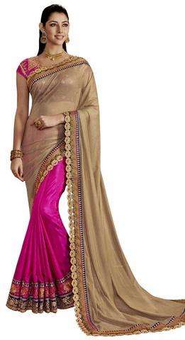 Purple and Beige Art Silk Partywear Saree