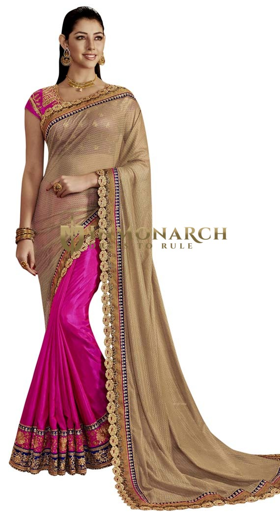 Purple and Beige Art Silk Partywear Saree