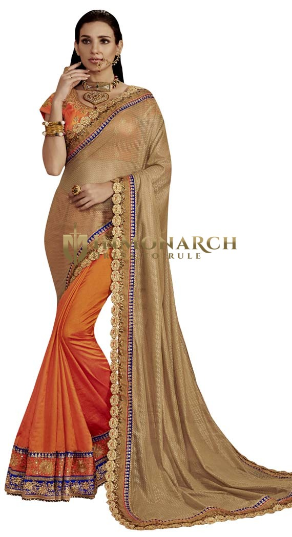Orange and Beige Art Silk Partywear Saree