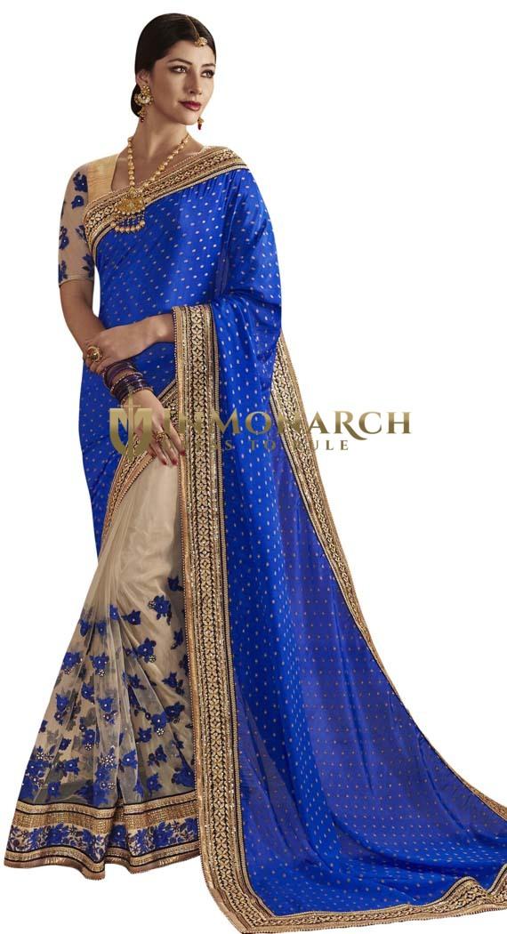 Heavy Work Blue & Beige Partywear Sari