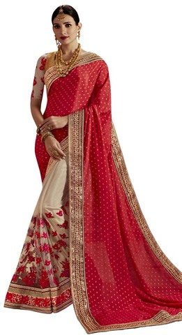 Beige and Red Net Partywear Saree