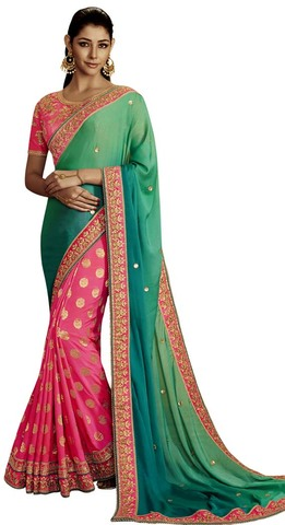 Pink and Green Jaquard Partywear Saree