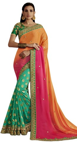 Green & Shaded Pink Partywear Saree