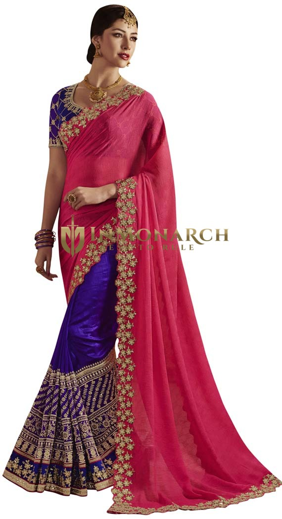Purple & Crimson Partywear Saree
