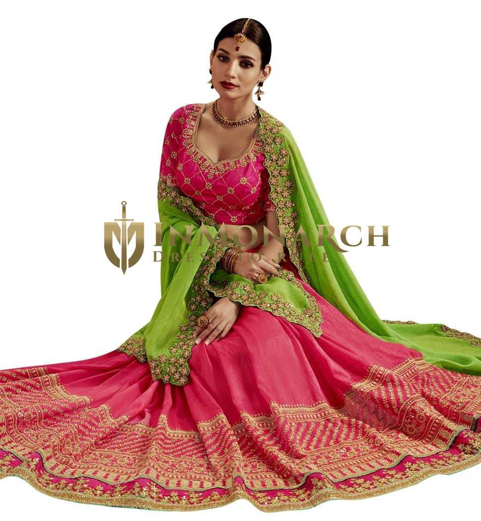 Party Wear Pink & Lime Green Silk Saree