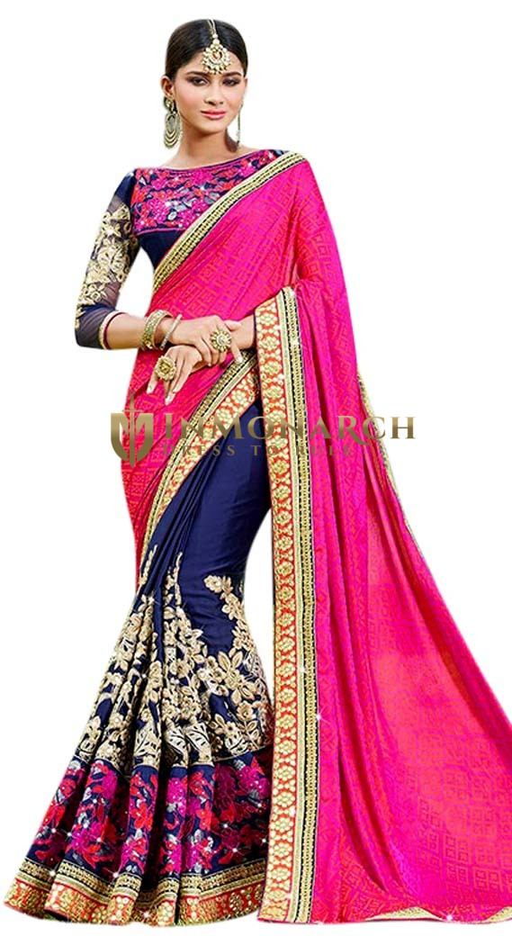 Navy Blue Georgette Wedding Saree