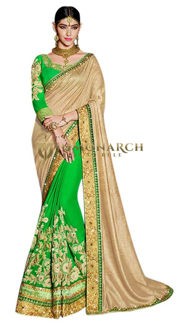Wedding Green Viscos Georgette Saree