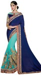 Navy Blue Silk Georgette Partywear Saree