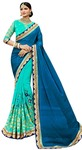Cyan & Blue Indian Party Wear Saree