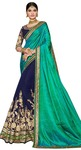 Navy Blue & Teal Silk Georgette Saree