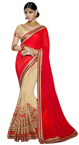 Crimson & Beige Georgette Bridal Saree