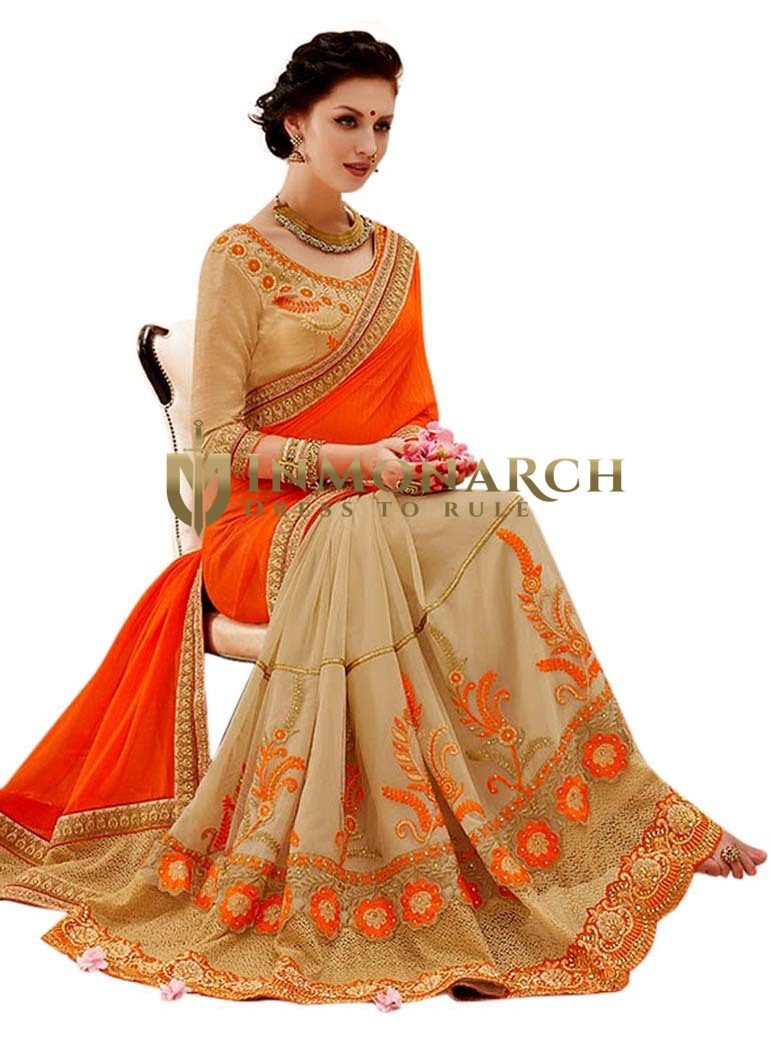 Orange & Beige Georgette Party Wear Sari