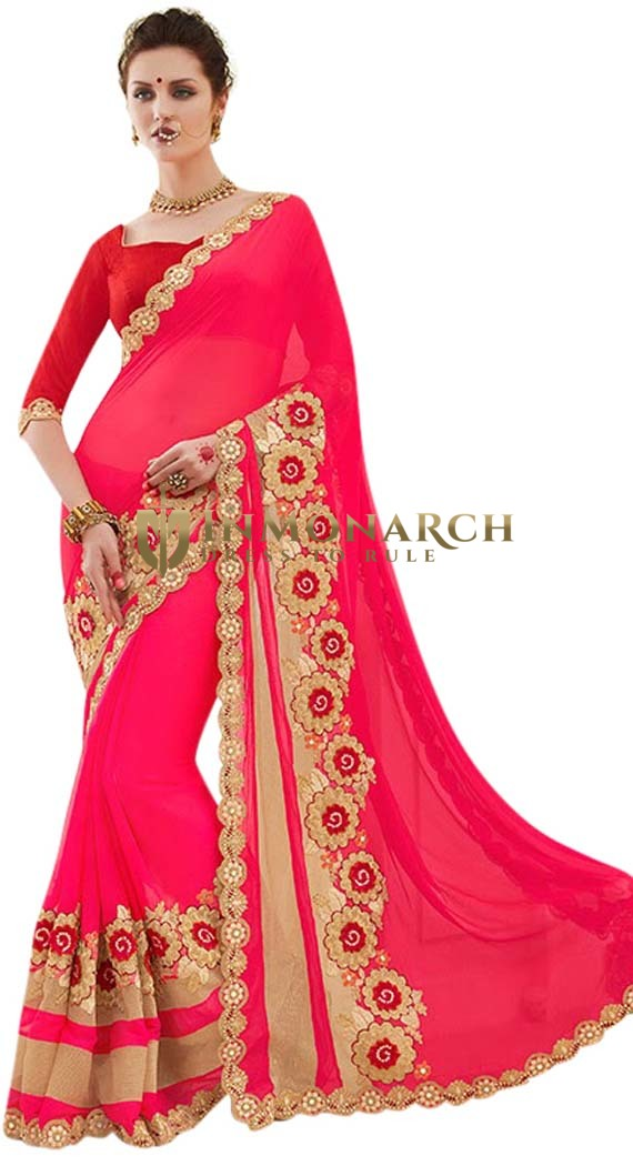 Embroidered Pink Georgette Wedding Saree