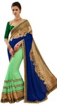 Green Georgette Embroidered Work Saree