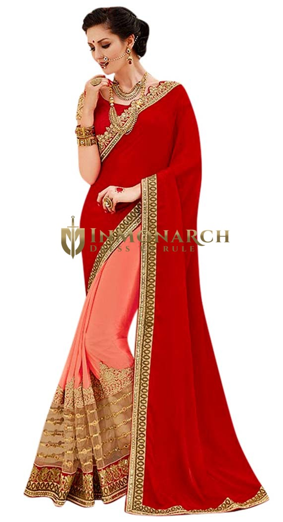 Red and Peach Crepe Partywear Saree