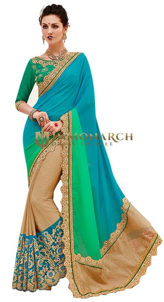 Beige and Sky Blue Georgette Bridal Saree