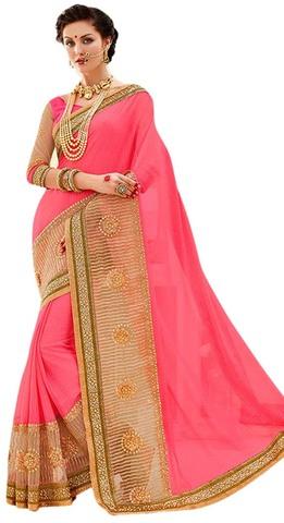 Ethnic Pink Chiffon Partywear Saree