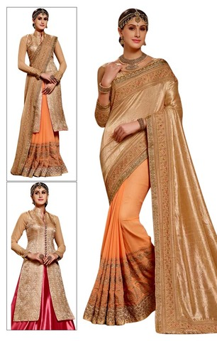 Peach Silk Chiffon & Georgette Saree