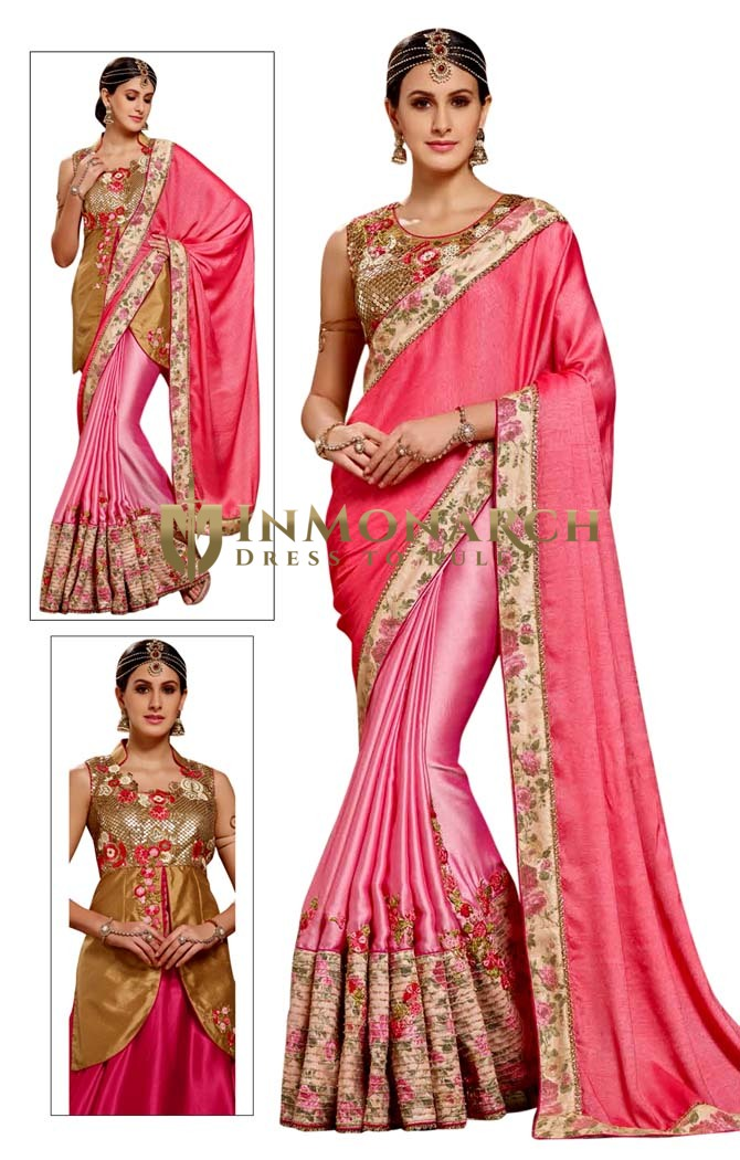 Pink Crepe Chiffon Indian Bridal Saree