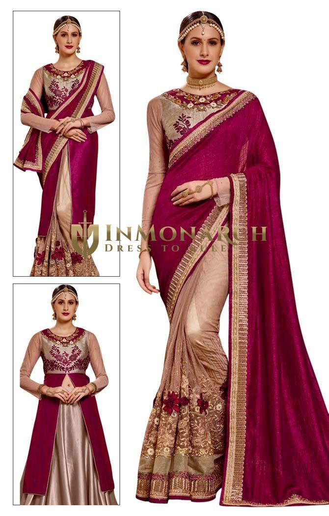 Beige Half & Half Chiffon Net Bridal Saree