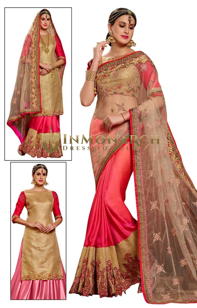 Half Net & Half Crepe Chiffon Wedding Saree