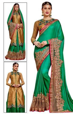 Green Crepe Silk Chiffon Wedding Saree